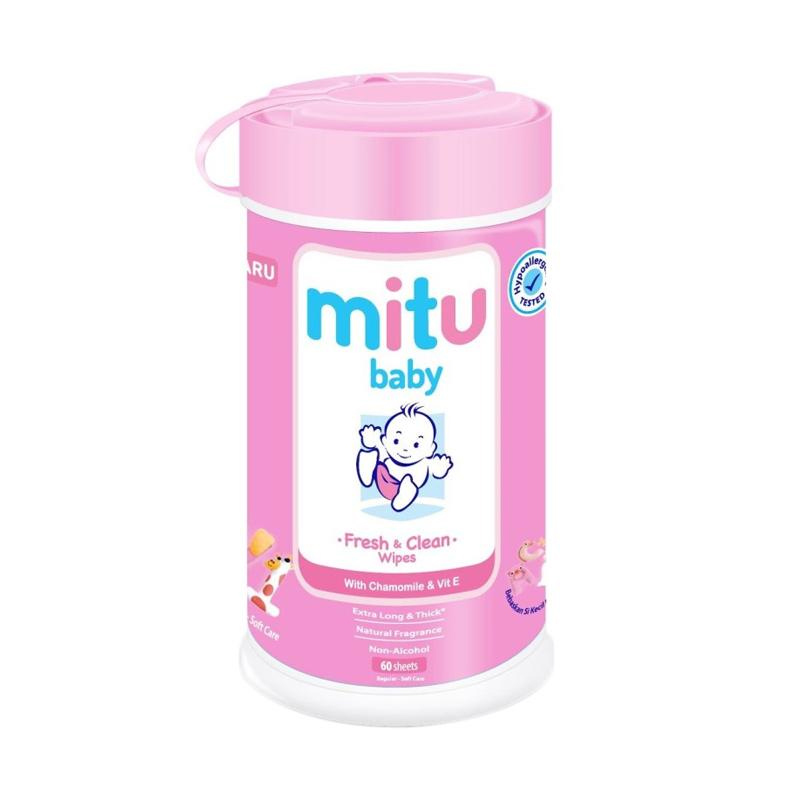 Mitu Baby Tissue Bottle Pink 60 Sheet