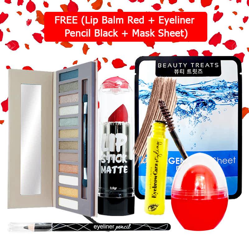 Beauty Treats Make Up Set B (Naked Eyeshadow No. 1 + Lipstick No. 4 + Eyebrowcara Dark Brown) FREE Kiss Me Lip Balm Red + Eyeliner Pencil Black + Mask Sheet Collagen