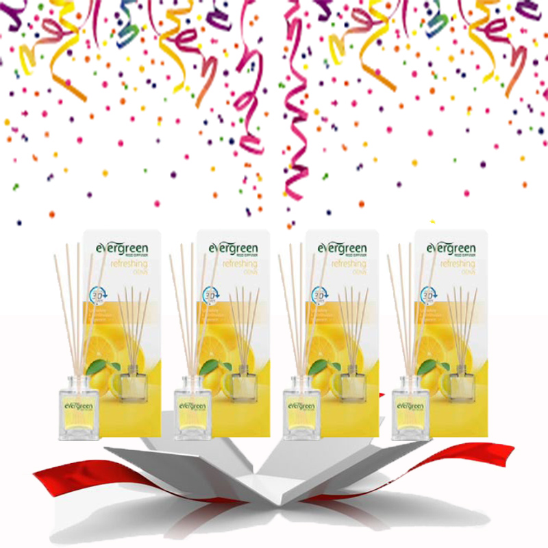 Evergreen Reed Diffuser Set Refreshing Citrus 30 ml (4pcs)