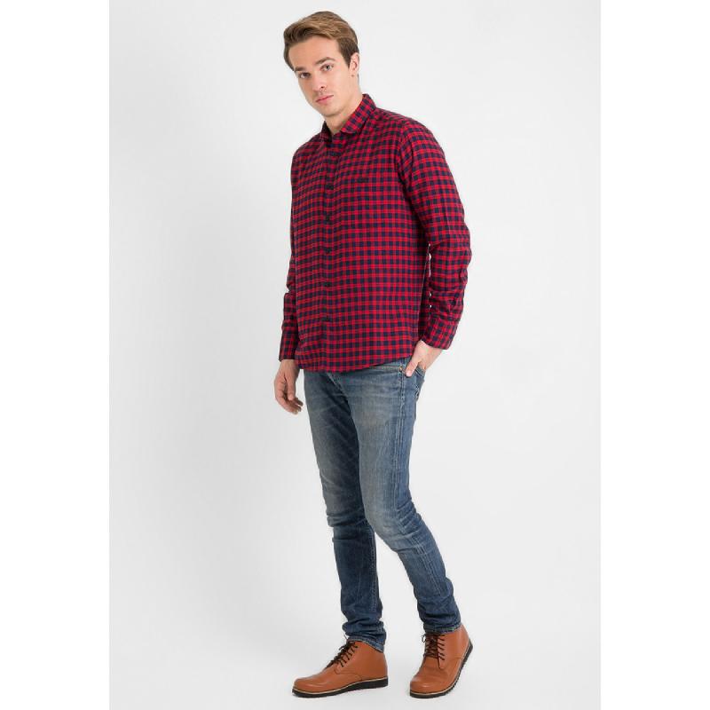 17Seven Roxas Men Shirt Flanel Long Sleeve Red