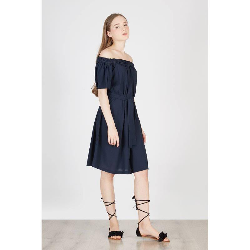 Paradice Off Shoulder Dress Blue