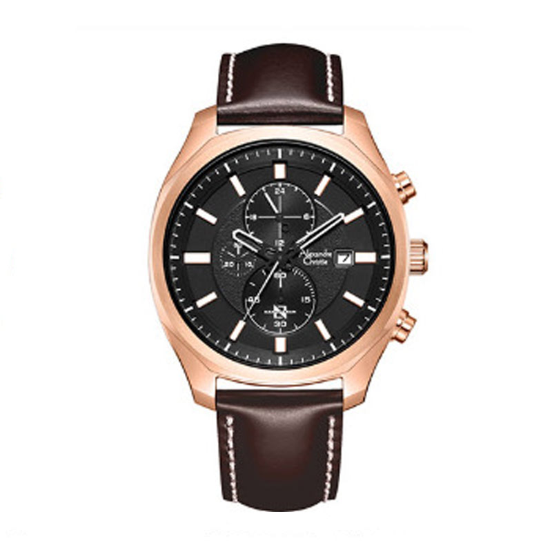 Alexandre Christie AC 6550 MCLRGBA Mens Watch Leather Strap Brown Rosegold