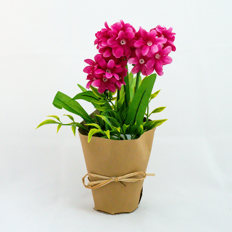 Asna Pink Artificial Flowers with Paper Pot