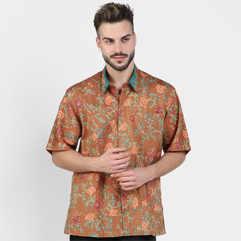 Batik Muda Hemd Sutra Pekalongan Shirt Brown