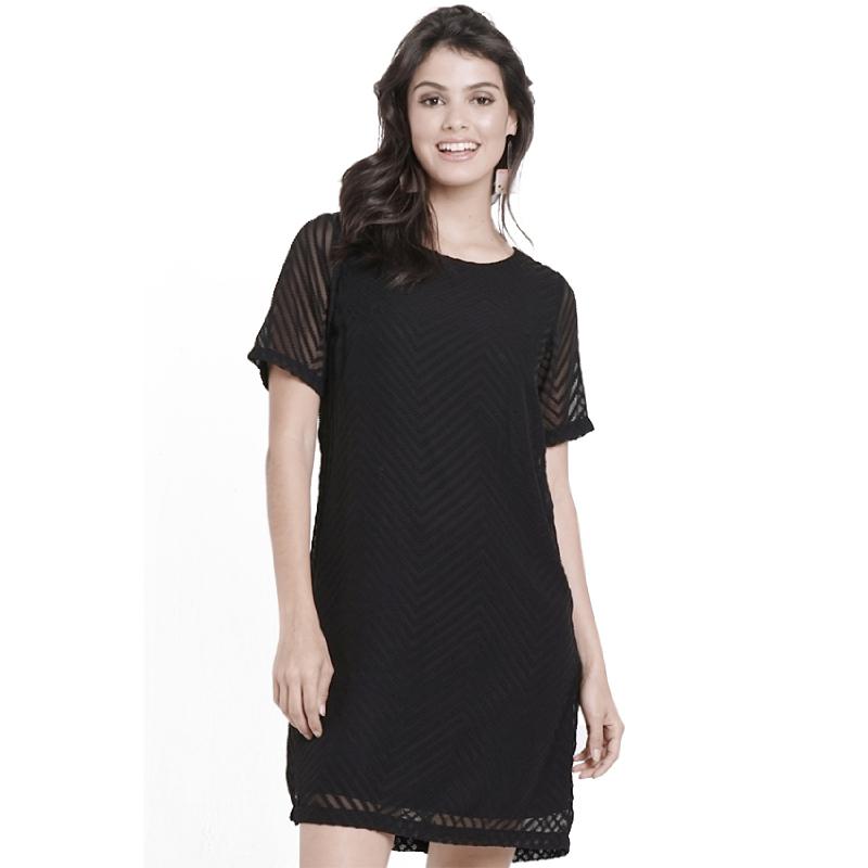 Minimal Sheer Textured Dress Jet Black