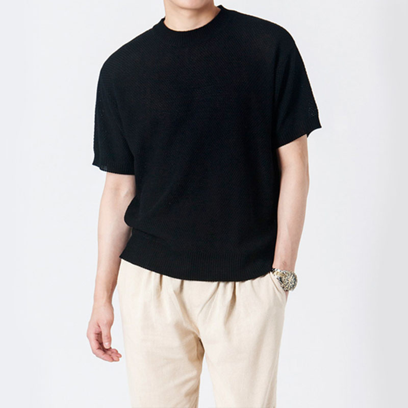 Solid Cable Short Sleeve R-Knit GK7204C - Black