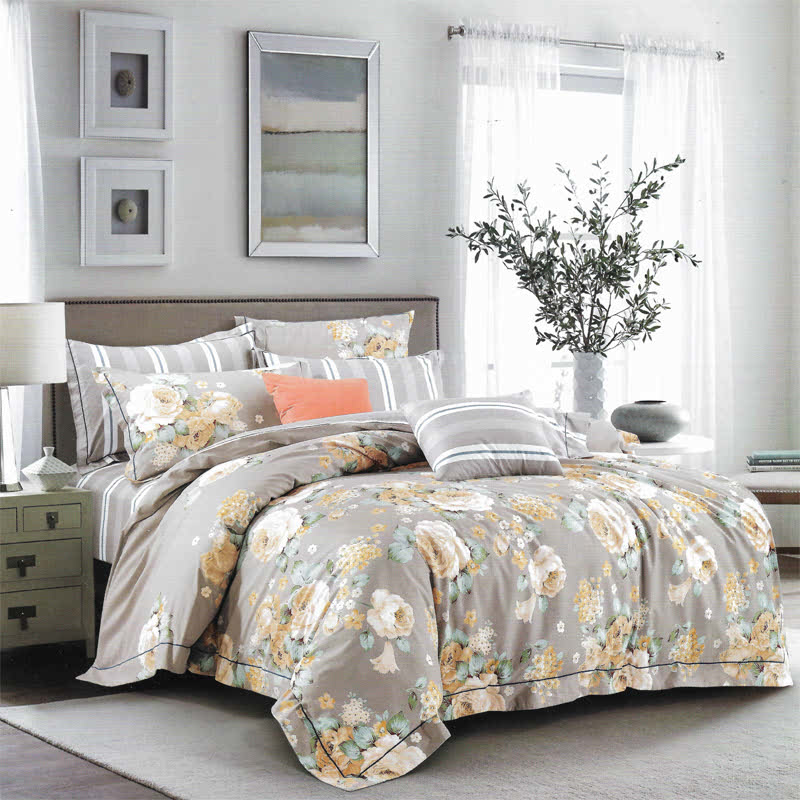 Sleep Buddy Set Sprei dan bed cover Grey Flower Cotton Sateen 180x200x30