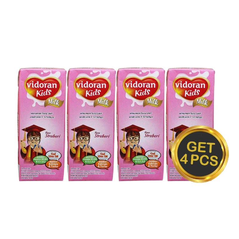 Vidoran UHT Kids Strawberry Tp 180 Ml (Get 4)
