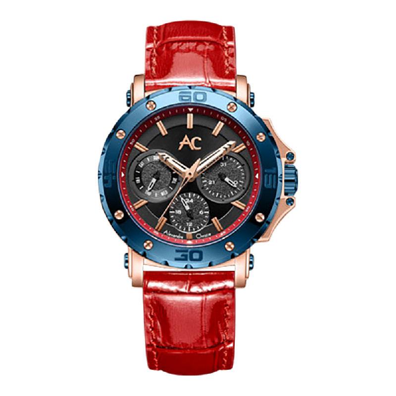 Alexandre Christie ACF 9205 BFLURBA LadiesBlack Dial Red Leather Strap