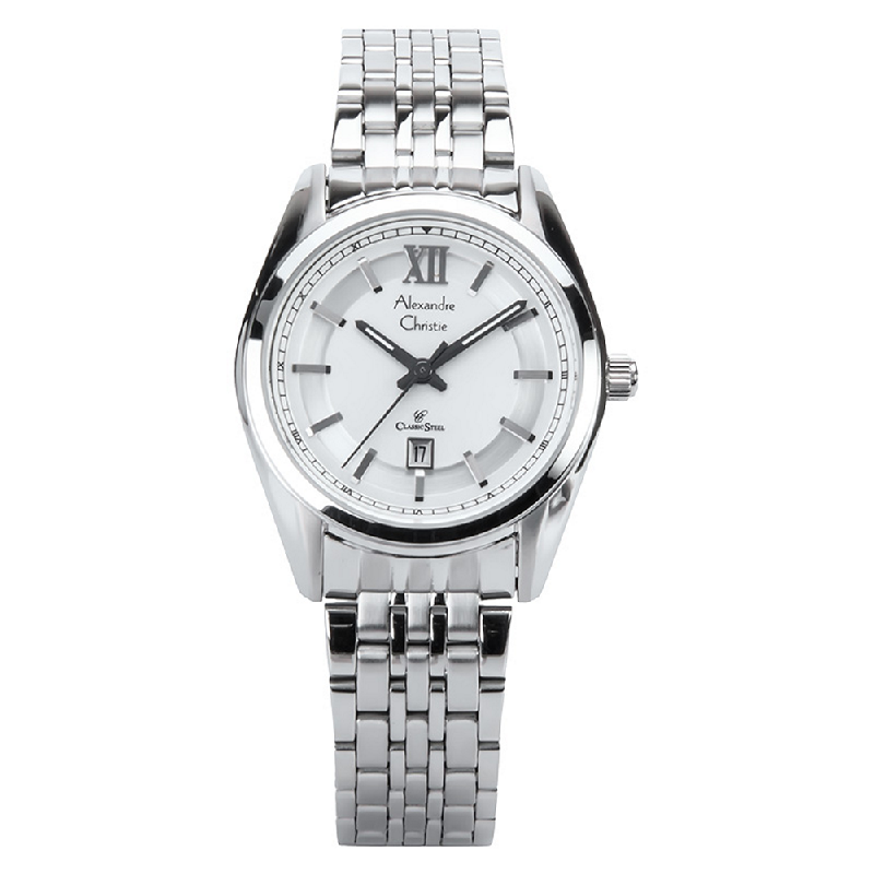 Alexandre Christie AC 8501 LD BSSSL Ladies Classic White Dial Stainless Steel