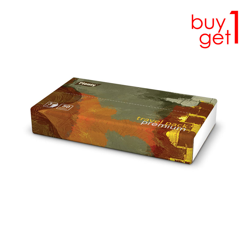Buy 1 Get 1 Plenty Travel Pack Tissue Premium [3 Ply 50 Sheet]