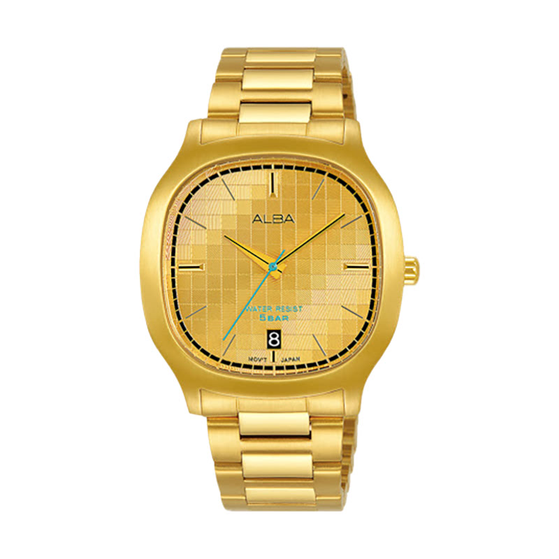 Alba Fusion AS9L72X1 Gold Pattern Dial Gold Stainless Steel Strap