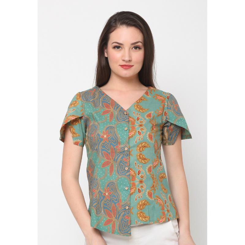 Agatha Asimetric Batik Top With Wrapped Sleeve Green