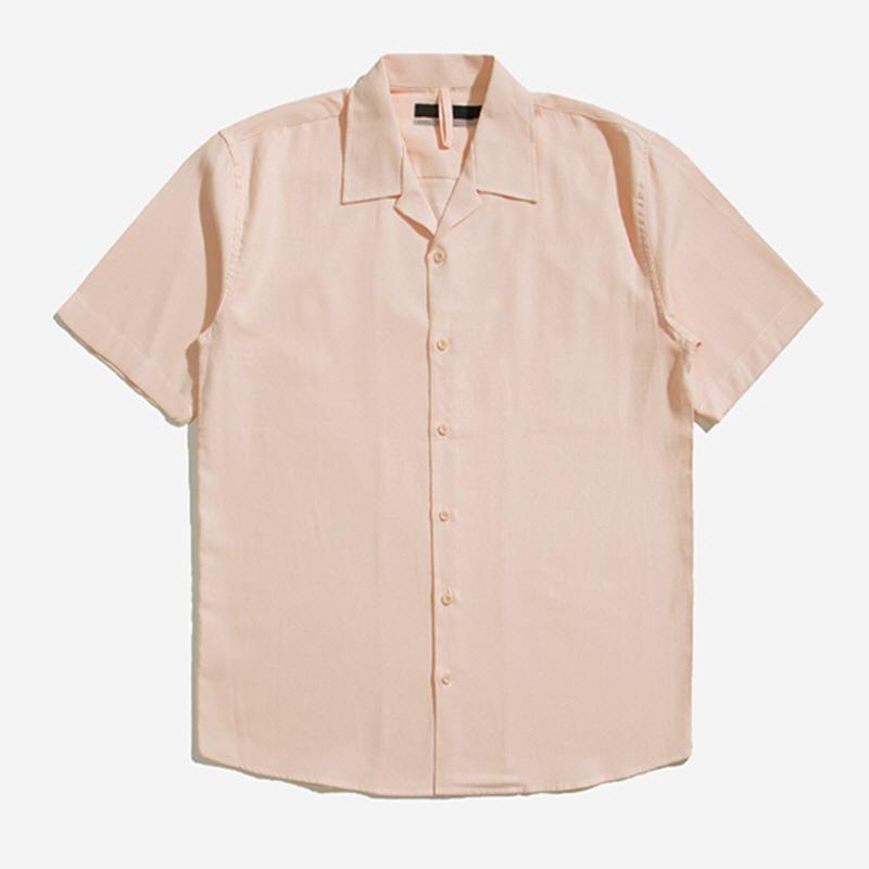 [POI.01] Republic Open Collar Short Sleeves Shirt PINK