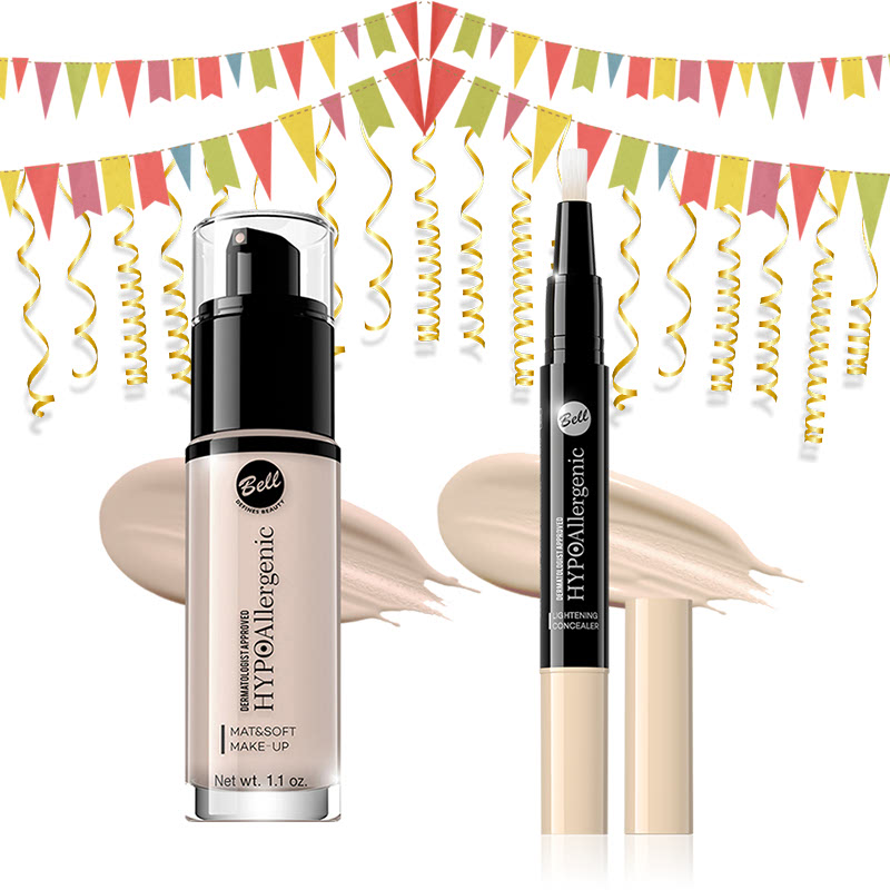 Bell Hypoallergenic Mat&Soft Make-Up 00 Alabaster & Bell Hypoallergenic Lightening Concealer 01