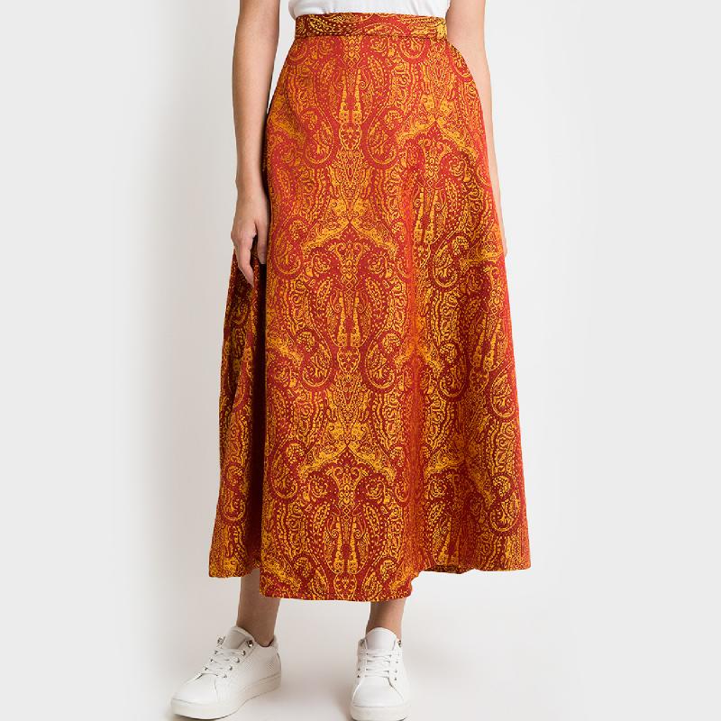 Duapola Ethnic A-line Maxi Skirt Orange