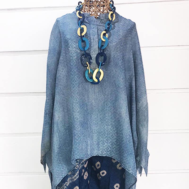 Batik Chic Blouse Manset Biru, Abu