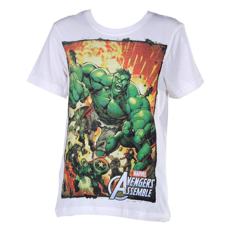 Avengers Assemble Hulk T-Shirt BOYS White usia 8 - 14 tahun