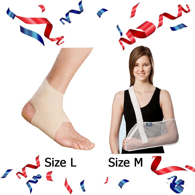 Ankle Brace - EAN001 (Size L) + E-Life Mesh Arm Sling Size M