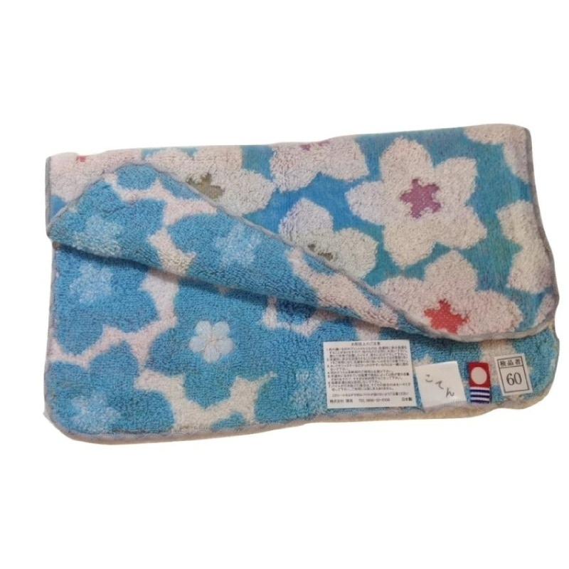 Yawaragi Koten Handuk Sapu Tangan Bunga - Biru