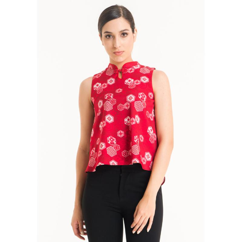 Bateeq Women Sleeveless Cotton Print Blouse FL001D-SS18 Red