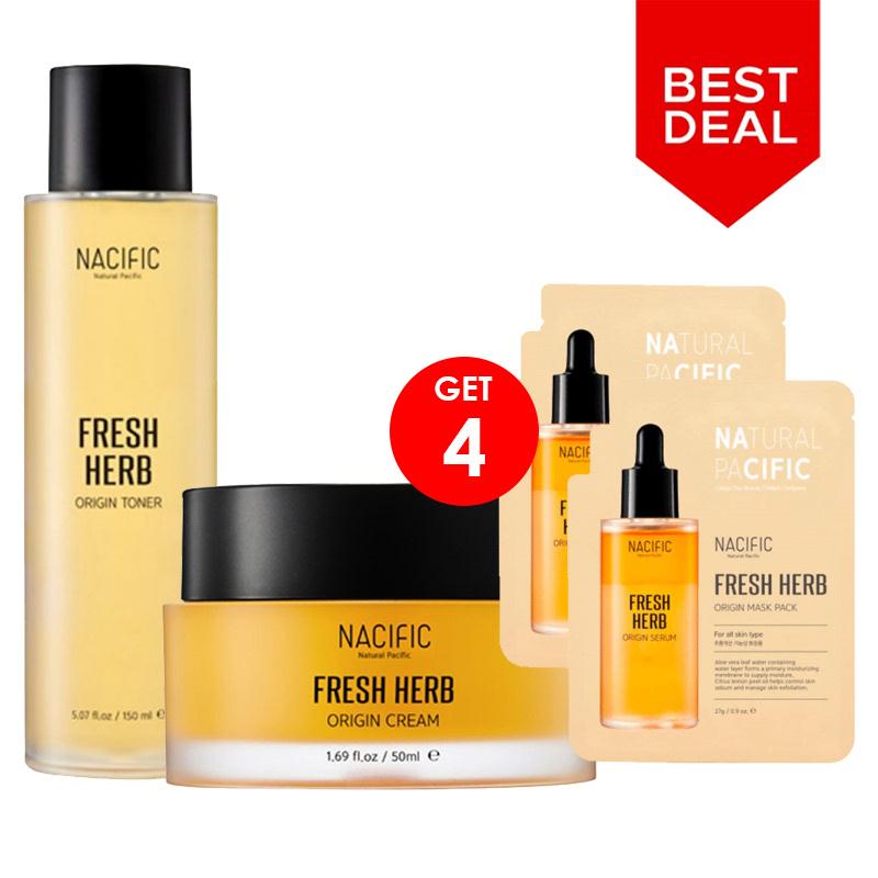 BCA Expoversary Nacific Set 2 - Nacific Fresh Herb Origin Cream + Fresh Herb Origin Toner + Fresh Herb Origin Mask Pack (2pcs)