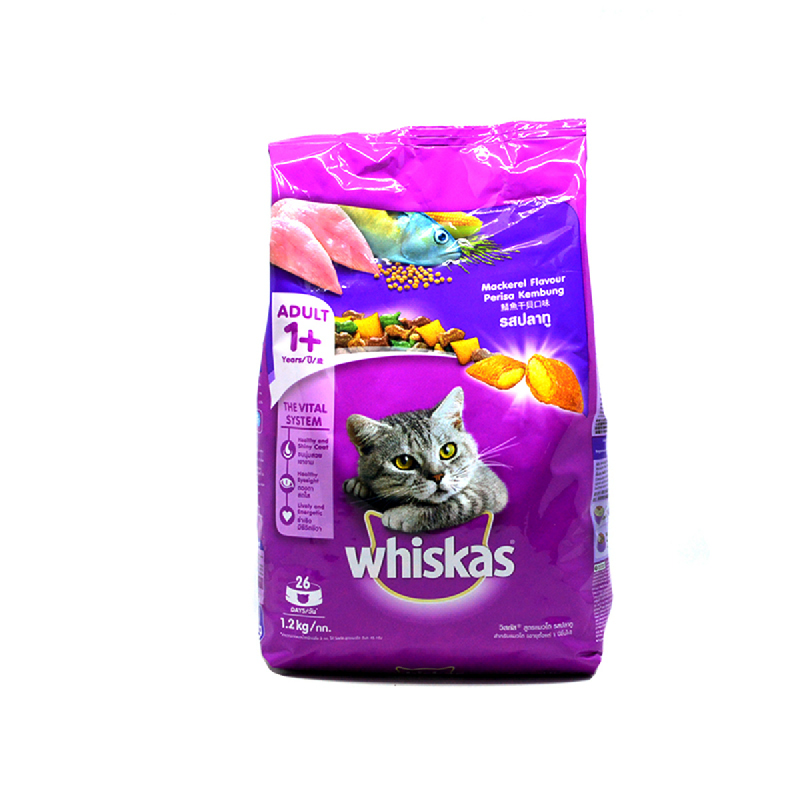 Whiskas Makanan Kucing Pocket Mackarel 1.2 Kg