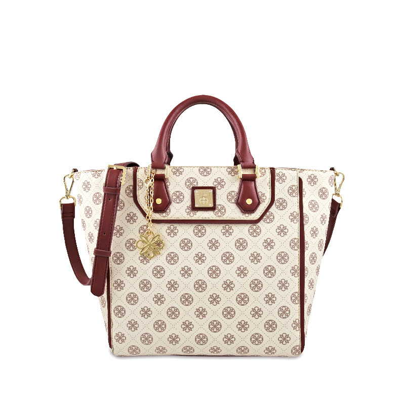 Les Catino Monogram Satchel Adobe Rose Maroon