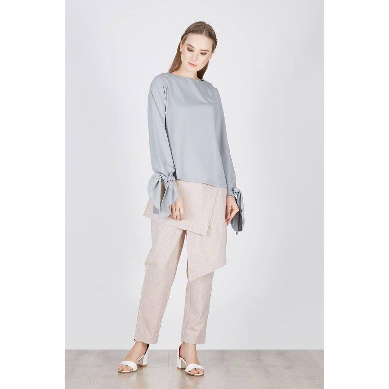 Rosali Bow Sleeve Blouse Grey