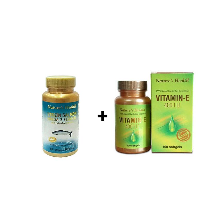 Virgin Salmon Omega-3 (Lemon) - 50 Softgels + Natures Health Vitamin E 400 IU - 100 Softgels