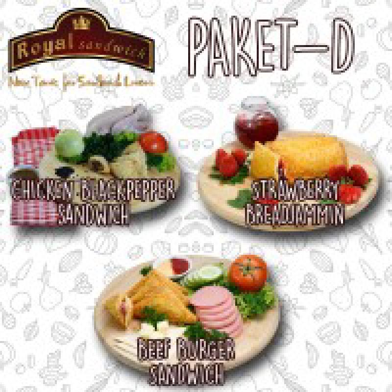 PAKET SANDWICH D ISI 3 (CHICKEN BLACK PEPPER, STRAWBERRY BREADJAMMIN, BEEF BURGER)