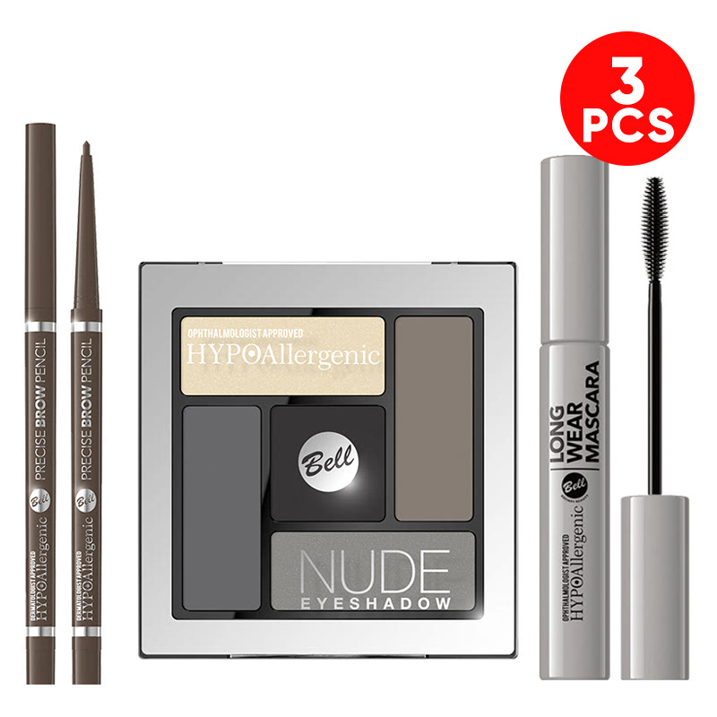 Bell Hypoallergenic Precise Brow Pencil 02 Taupe Blonde + Bell Hypoallergenic Nude Eyeshadow 02 + Bell Hypoallergenic Long Wear Mascara
