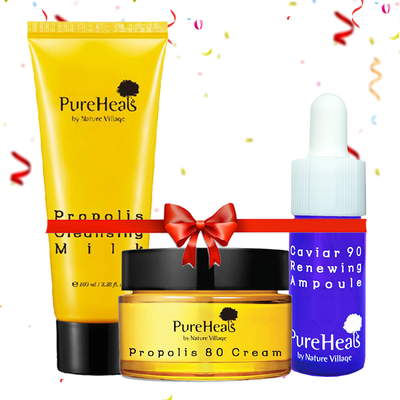 Pureheals Propolis Cleansing Milk 100 ml + Propolis 80 Cream 50 ml + Pureheals Caviar 90 Renewing Ampoule 15ml