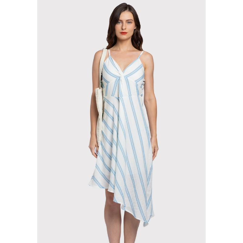 Lovadova Catricia Assymetric Stripe Dress  Multi