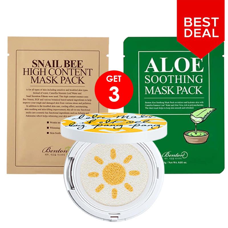 BCA Expoversary Elroel Set - Elroel Pang Pang Big Cushion + Benton Mask Pack (High Content Snail Bee + Soothing Aloe)