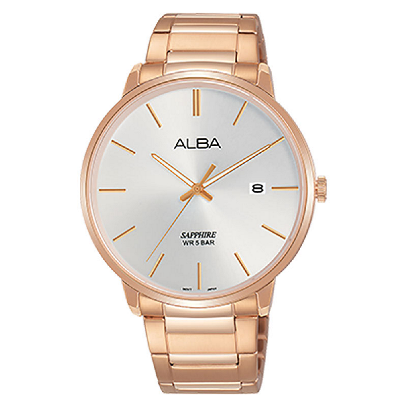 Alba AS9G56X1 Men Silver Dial Rose Gold Stainless Steel