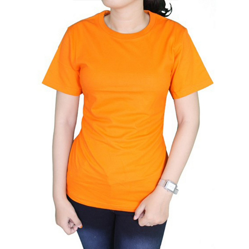Gudang Fashion Kaos basic Wanita ONeck Pendek Cotton Combed S20 Orange