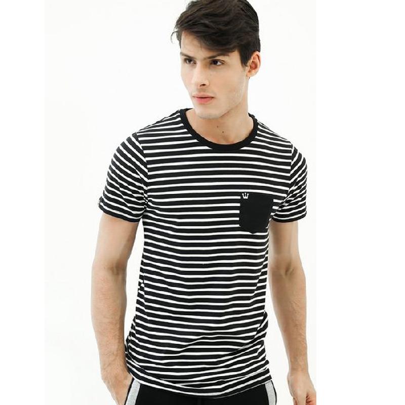 3second Men Tshirt 9004 Stripe Black