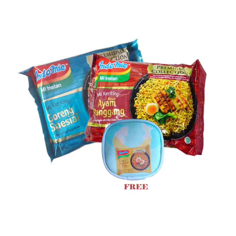 5 Pcs Indomie Goreng Premium Ayam Panggang & 5 Pcs Indomie Goreng Premium Goreng Special Free Headset Pouch