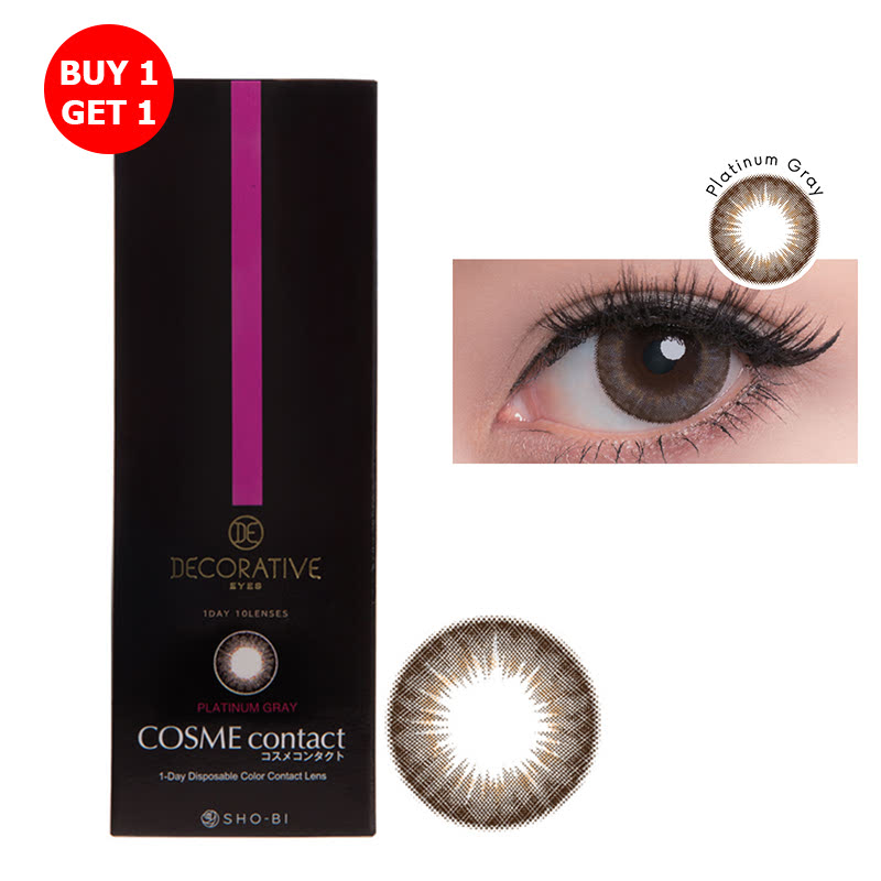 Shobi Platinum Gray  (-6.00) 1 Day Disposable Cosme Contact Lens  2pcs