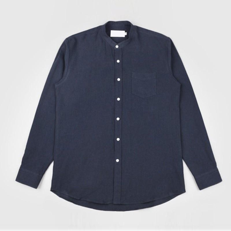 Label China Collar Shirt - NAVY