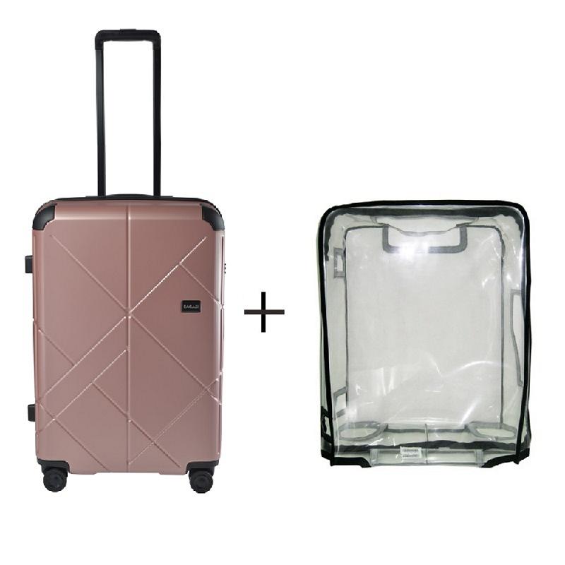 Bagasi Jasper Koper Hardcase Medium 26 Inch Pink + Luggage Cover Medium