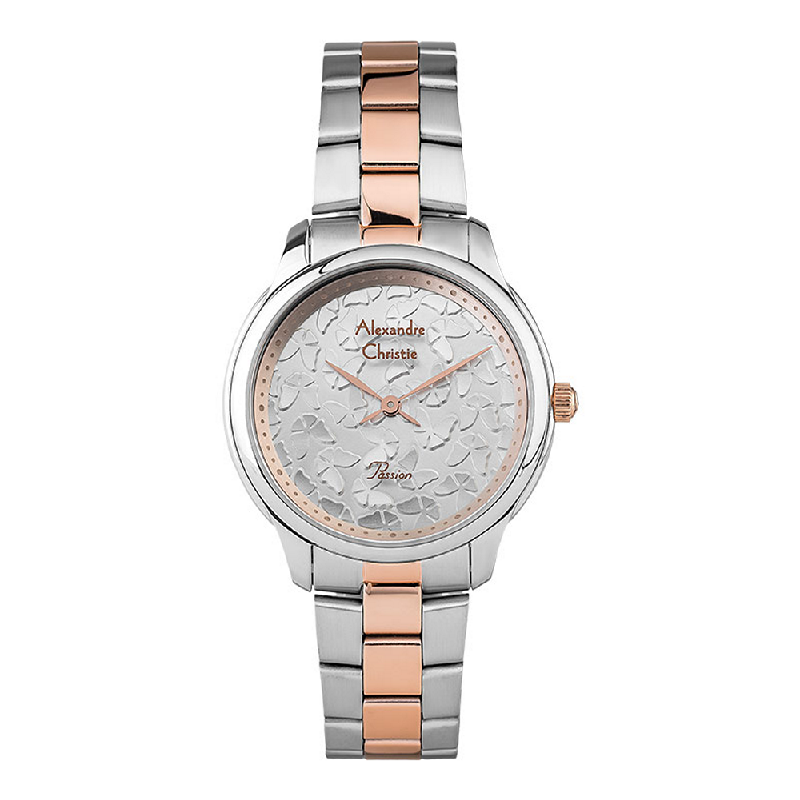 Alexandre Christie AC 2891 LHBTRSL Ladies Silver Butterfly Dial Dual Tone Stainless Steel Strap