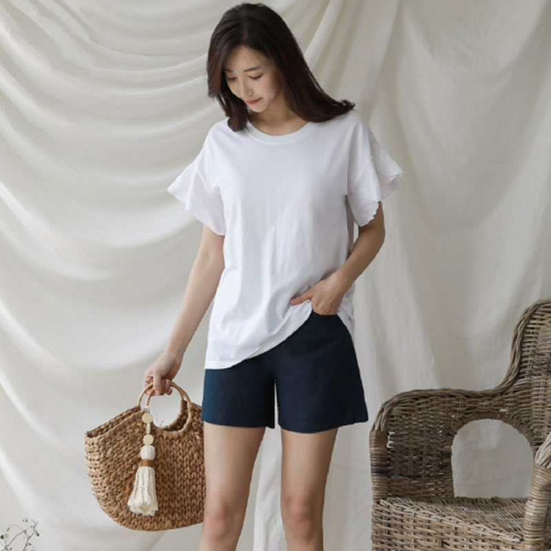 Chichera Color Ruffle Sleeve Tee A White