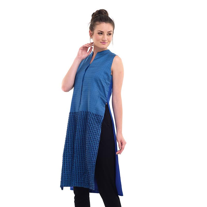 Batik Chic Blouse A Sutra Garut Biru Benhur