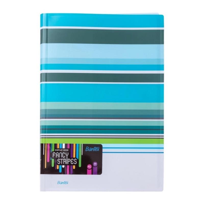 Bantex Fancy Stripe Display Book (30 Pocket) Folio Sky Blue -3197 23