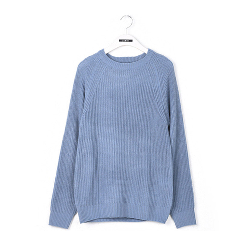 Some Raglan Round Neck Knit - BLUE