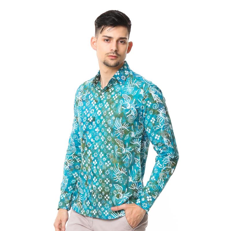 Agrapana Batik Lengan Panjang Muscle Fit 105.22.858.05.Biru