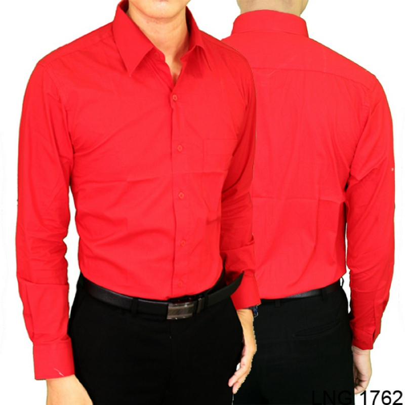 Gudang Fashion Kemeja Polos Pria Kerja Merah LNG 1762