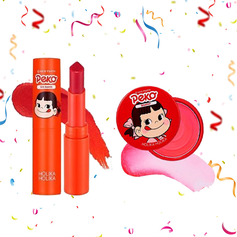 Holika Holika Peko Water Drop Tint Bomb 02 Pomegranate Water + Peko Melty Jelly Blusher 03 Melting Strawberry